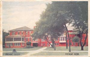 Fremont College Nebraska~Stump by Sidewalk~Railing to Door c1907 Postcard