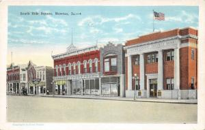 Newton Iowa~South Side of Square~Jasper County Savings Bank~1920s Postcard