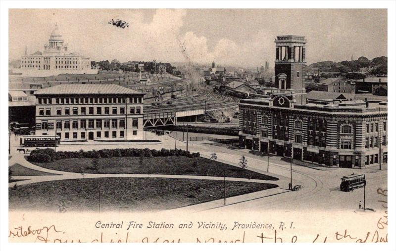 Rhode Island Providence , Aerial View of  Central Fire Station and Vicinity