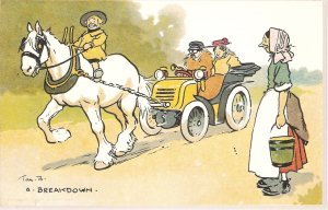 TOM BROWNE, A Breakdown. Horse  Aujthentic  Tom Browne card reproduction