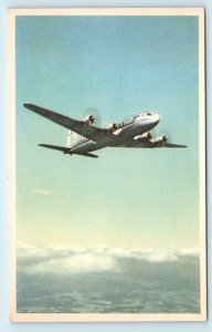 SAS~ SCANDINAVIAN AIRLINES SYSTEM ~DC-6 in the AIR ~ c1940s Sweden Postcard