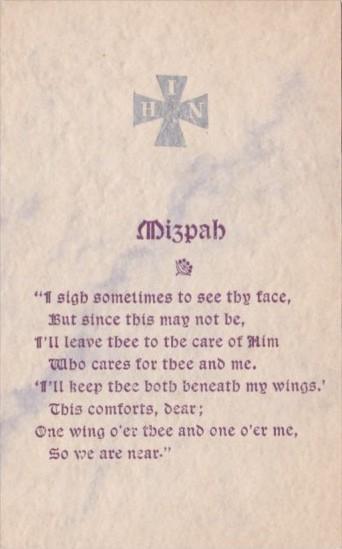 Motto Card Mizpah