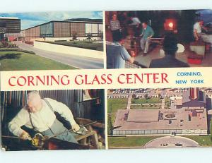 Pre-1980 FOUR VIEWS ON ONE POSTCARD Corning New York NY hr1072