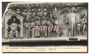 Old Postcard Bourges Cathedrale Saint Etienne Part Typan Central Door