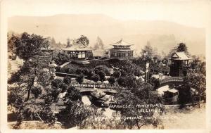 Hollywood California~Japanese Gardens-Miniature Village~Boat by Bridge~1920 RPPC