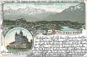 VINTAGE POSTCARD: AUSTRIA  - GRUSS AUS: SALZBURG 1897