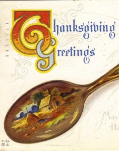Souvenir Spoon with Turkey and Pumpkin on it Thanksgiving Vintage Postcard