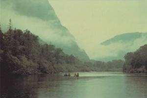 Waterfront View, Foggy Early Morning Canoe on the Jacques-Cartier River, Queb...