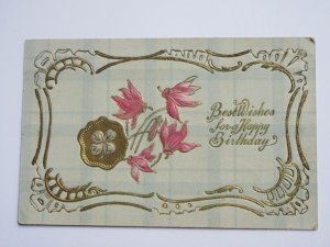 1909 Best Wishes for a Happy Birthday Postcard