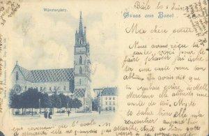pc8763 postcard Gruss aus Basel Switzerland postaly used 1900 no stamp