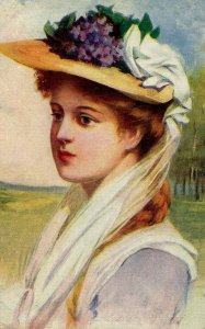 Lady with Purple-Flowered Hat