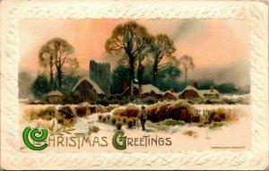 Vtg Christmas Postcard John Winsch Embossed Christmas Greetings Cabin Scene