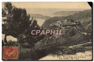 Old Postcard Eze View Of Rocks Taking the Road of the cornice
