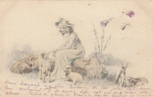 AS; M.M. VIENNE; Woman sitting on log with sheep and rabbits around her, PU-1901