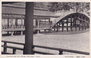 Miyajima Sori Bridge & Platform Antique Japanese Postcard