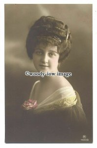 gla0069 - Young Woman in a Brown Dress with White Neckline & Rose - postcard