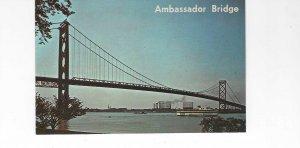 Vtg 1960's Ambassador Bridge, Detroit, Michigan Postcard