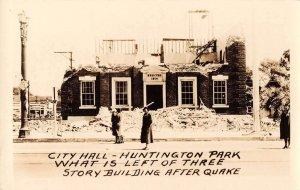 Huntington Park California Earthquake City Hall Real Photo Antique PC J39787