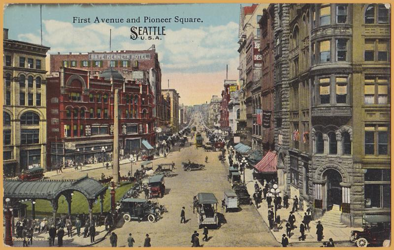 Seattle, Wash., First Avenue & Pioneer Square-Autos, delivery trucks & Trolleys