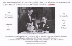 Louisiana New Orleans Restaurant Antoine Oysters A La Rockefeller Order #4,05...