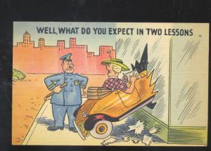 POLICE OFFICER POLICEMAN WOMAN DROVE INTO WINDOW VINTAGE COMIC POSTCARD