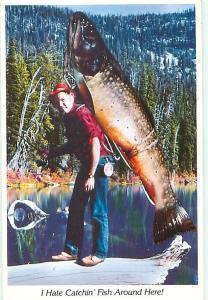 Comic Novelty Giant Brook Trout Fish Spokane Washington  Postcard  # 7544