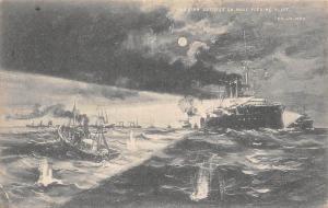 Russian Outrace on Hull Fishing Fleet, Moonlight, Ship Boats Sea 1904