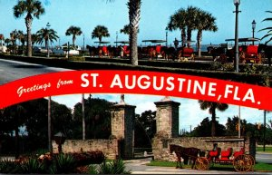 Florida St Augustine Greetings Showing City Gates and Sightseeing Carriages
