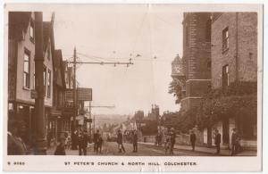 Essex; St Peter's Church & North HIll, Colchester RP PPC 1914 PMK