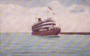 Whaleback Steamer Christopher Columbus Entering Harbor Milwaukee Wisconsin