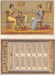 approx size inches = 2.5 x 3.75 Trade Card, Tradecard Calander 1879 - 1880