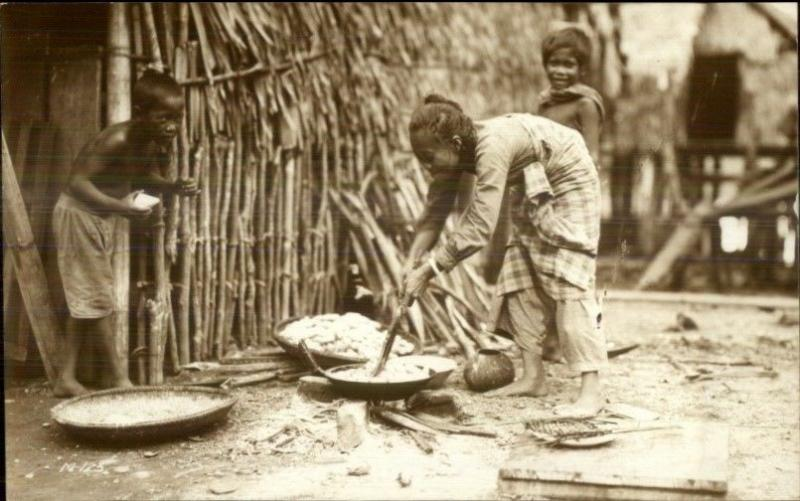 Philippines - Natives Cooking c1920s-30s Real Photo Postcard dcn
