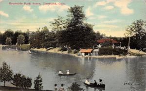 Cleveland Ohio~Brookside Park Scene~People in Boats on Water~1913 Postcard