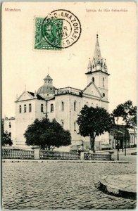 1914 Postally-Used MANAUS, BRAZIL Postcard Manaos - Igreja de Sao Sebastian