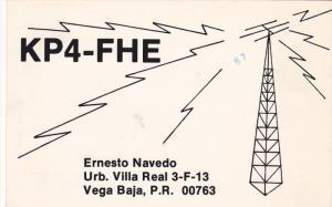 QSL Radio Postcard , KP4-FHE , Vega Baja , Puerto Rico , 40-60s
