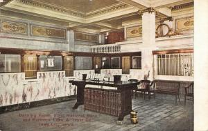 Iowa City IA~First National Bank Farmers Loan & Trust~Interior~Teller Cages~1908
