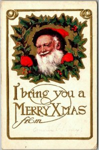 1910s Embossed Postcard SANTA CLAUS I Bring You a MERRY XMAS From (Blank)