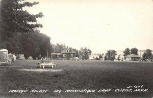 LP56 Curtis Michigan  Postcard RPPC Emery's Resort Manistique  Lake