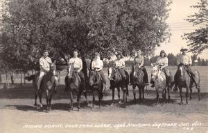 Heafford Junction WI 5 Ladies, 2 Gents on Horseback~Deer Trail Lodge RPPC 1940s