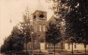 Middletown Indiana~Christian Church~This Is Our Church~House Next~c1912 RPPC