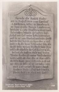 Andreas Hofers Hotel Goldener 1558 Gravestone Innsbruck Austria RPC Postcard