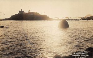 RPPC Sunset Lighthouse Crescent City, CA Patterson Photo c1930s Vintage Postcard