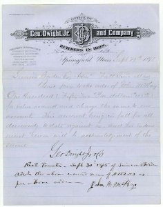 1875 Letterhead, GEO. DWIGHT, JR. and CO., Builders in Iron, Springfield, MA