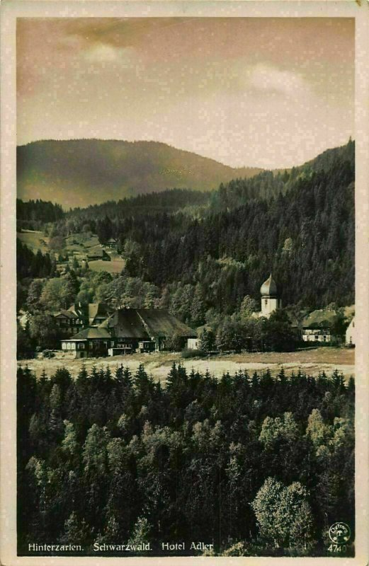 Hitnerzarten Schwarzwald Hotel Adler Pension River Church Postcard