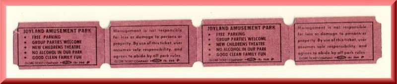 4 1987 Joyland Amusement Park Tickets, Topeka, Kansas/KS, WIBW-TV & Coke