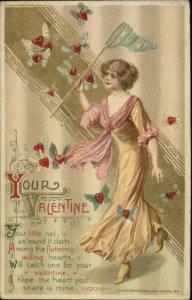 Valentine - Beautiful Woman Catching Heart Butterflies Winsch Schmucker PC