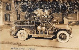 Greenfield MA Fire Truck Combination #1 RPPC Postcard