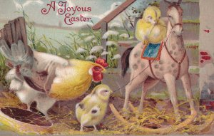 EASTER, 1900-10s; Hen watching chicks playing with rocking horse
