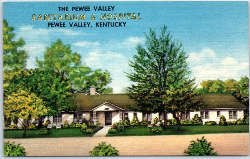 Pewee Valley, Kentucky Postcard SANITARIUM & HOSPITAL Street View Linen c1940s