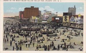 New Jersey Atlantic City Crowd On The Beach Below Million Dollar Pier